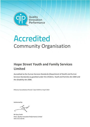 QIP Accredited Organisation Certificate - Human Services Standards