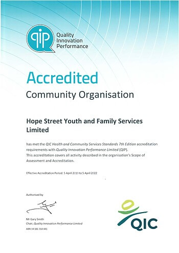 QIP Accredited Organisation Certificate - QIC Health and Community Services Standards 7th Ed