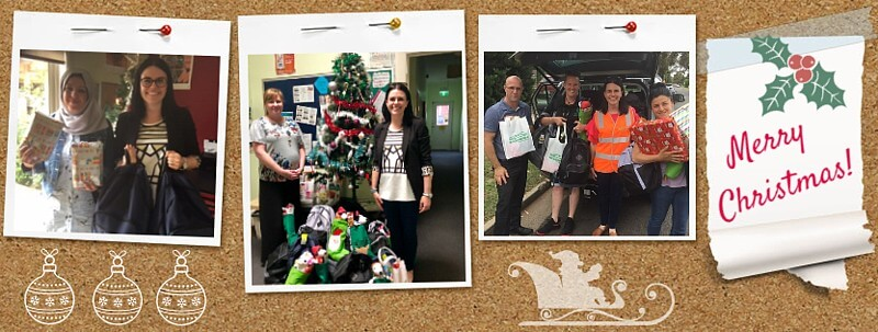 Photo 1: Abeer, Hope to Home Whittlesea Community Integration Facilitator (left), with Kate who brought Ecodynamics' Christmas presents for our young people and young families in Thomastown. Photo 2: At left is Sharon, Youth Residential Services Team Leader (North East), with Kate at the now-abundantly stocked Christmas tree at our Brunswick Refuge. Photo 3: Kate (second from right) and our team members with Ecodynamics' gifts for our young people and their children in Melton.